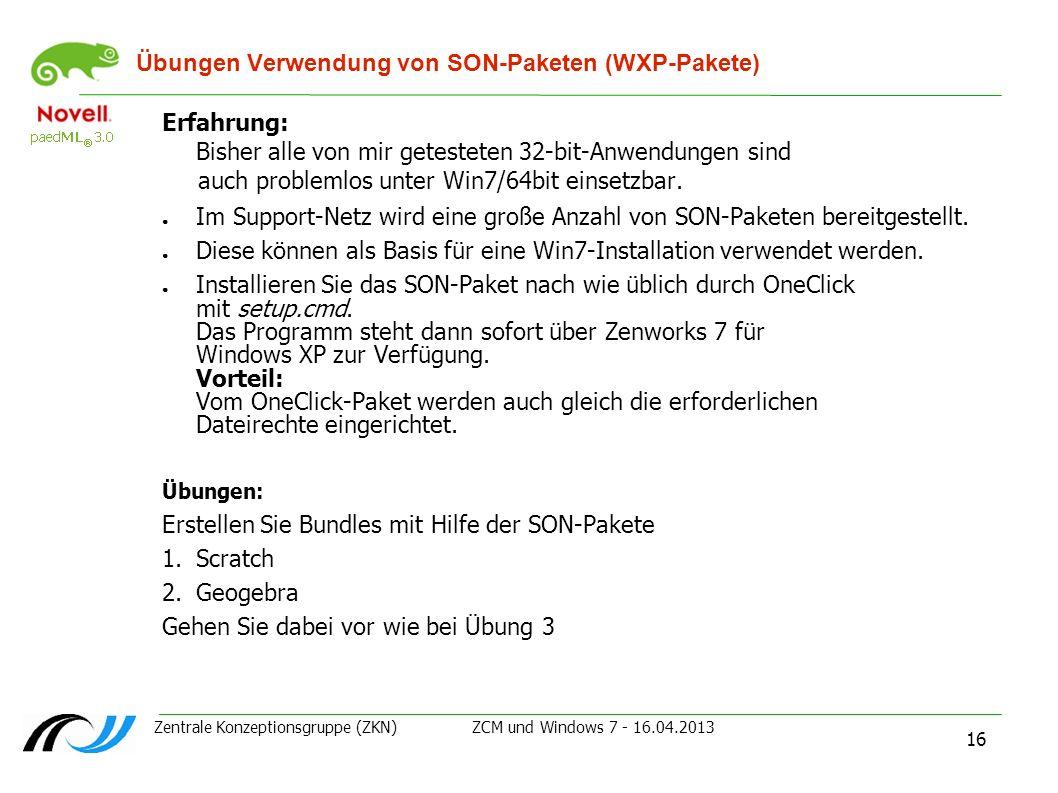 Übungen Verwendung von SON-Paketen (WXP-Pakete)