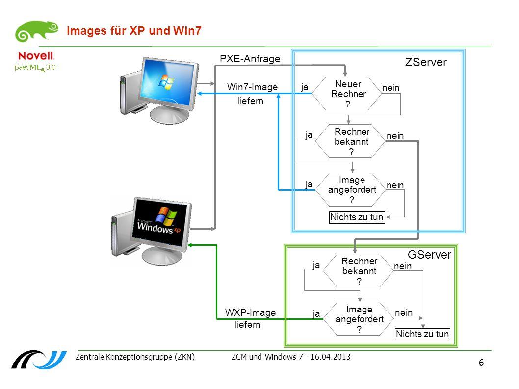 Images für XP und Win7 ZServer GServer PXE-Anfrage Neuer Rechner