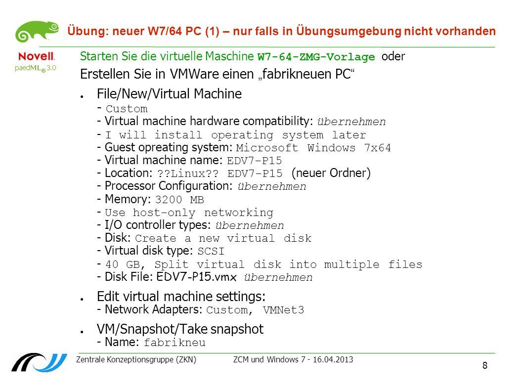 """Erstellen Sie in VMWare einen """"fabrikneuen PC"""