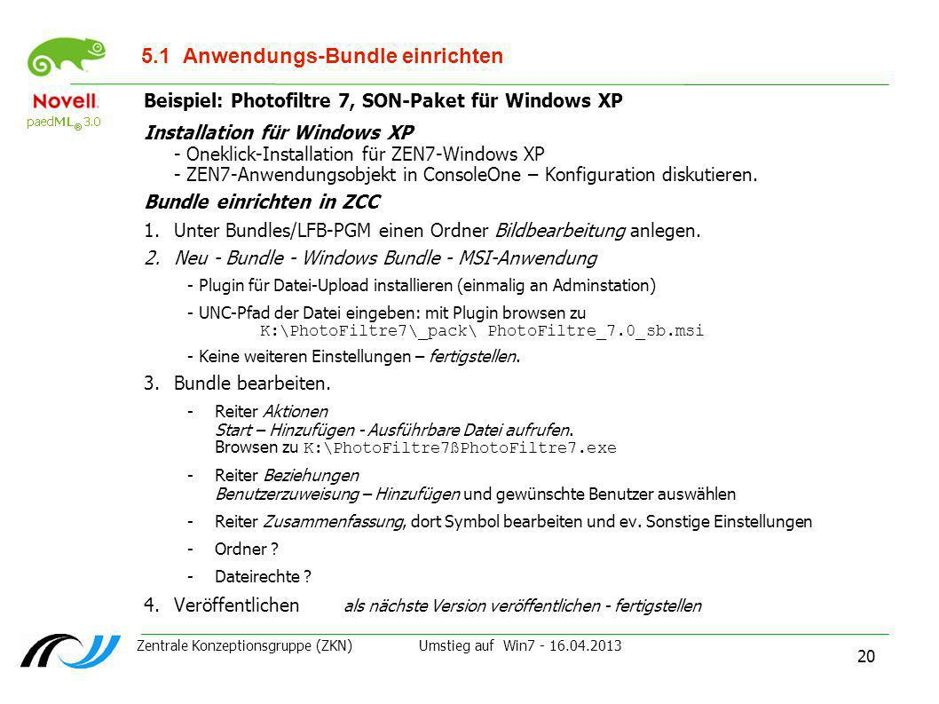 5.1 Anwendungs-Bundle einrichten