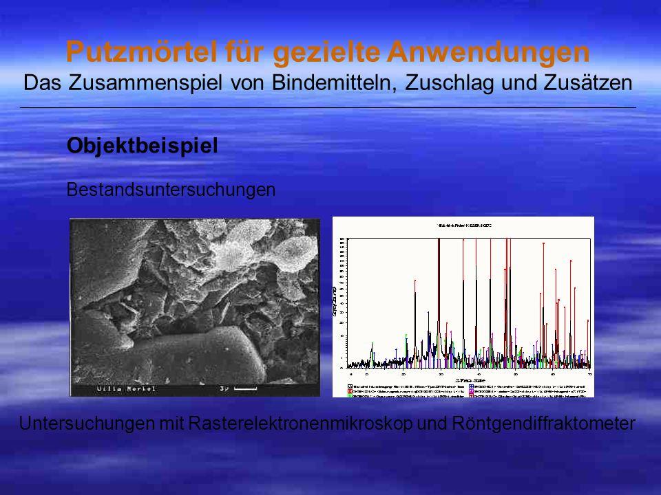 Untersuchungen mit Rasterelektronenmikroskop und Röntgendiffraktometer