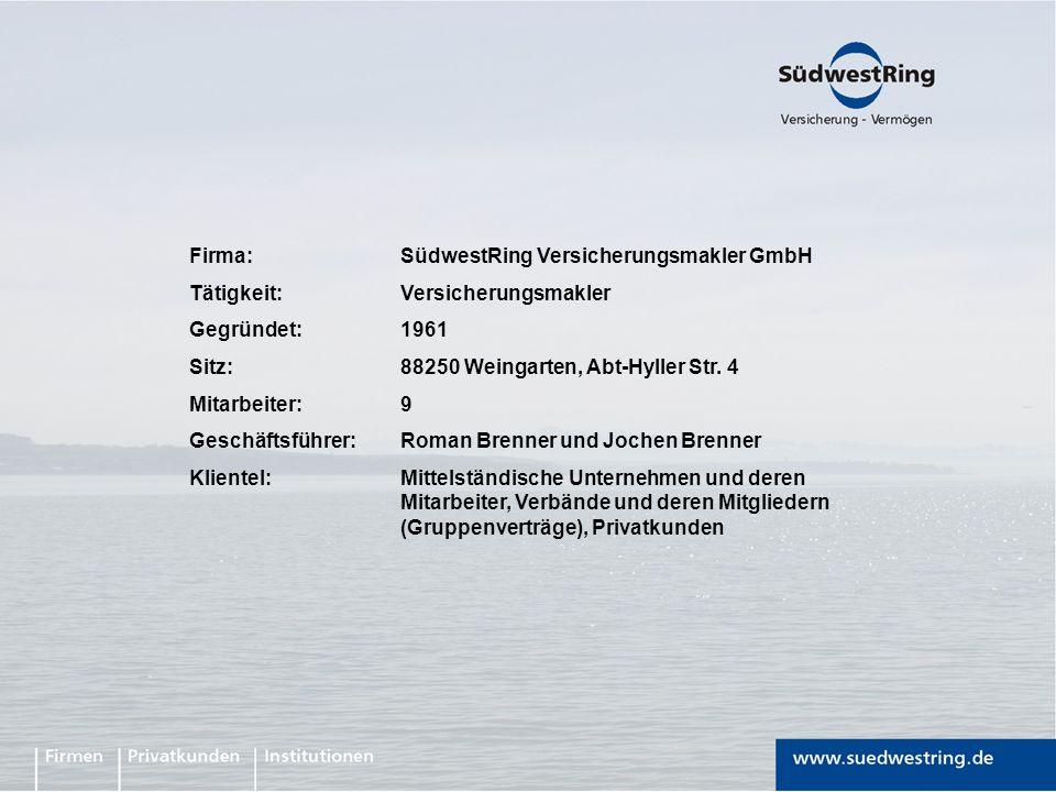 Firma: SüdwestRing Versicherungsmakler GmbH