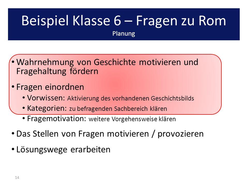 Beispiel Klasse 6 – Fragen zu Rom Planung