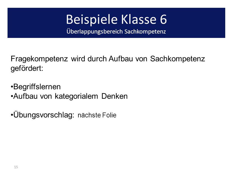 Beispiele Klasse 6 Überlappungsbereich Sachkompetenz