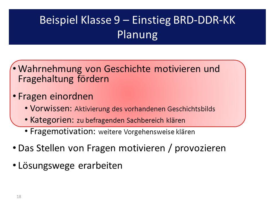 Beispiel Klasse 9 – Einstieg BRD-DDR-KK Planung