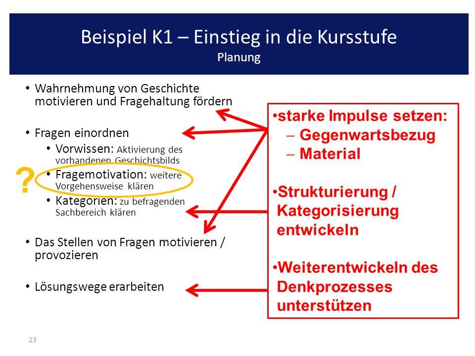 Beispiel K1 – Einstieg in die Kursstufe Planung
