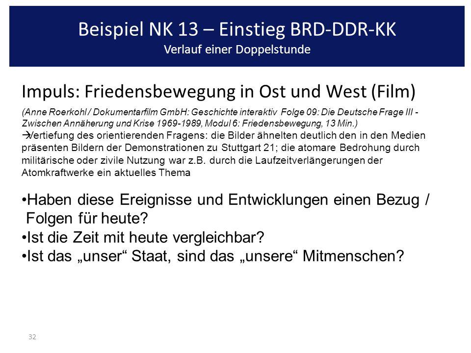 Beispiel NK 13 – Einstieg BRD-DDR-KK Verlauf einer Doppelstunde