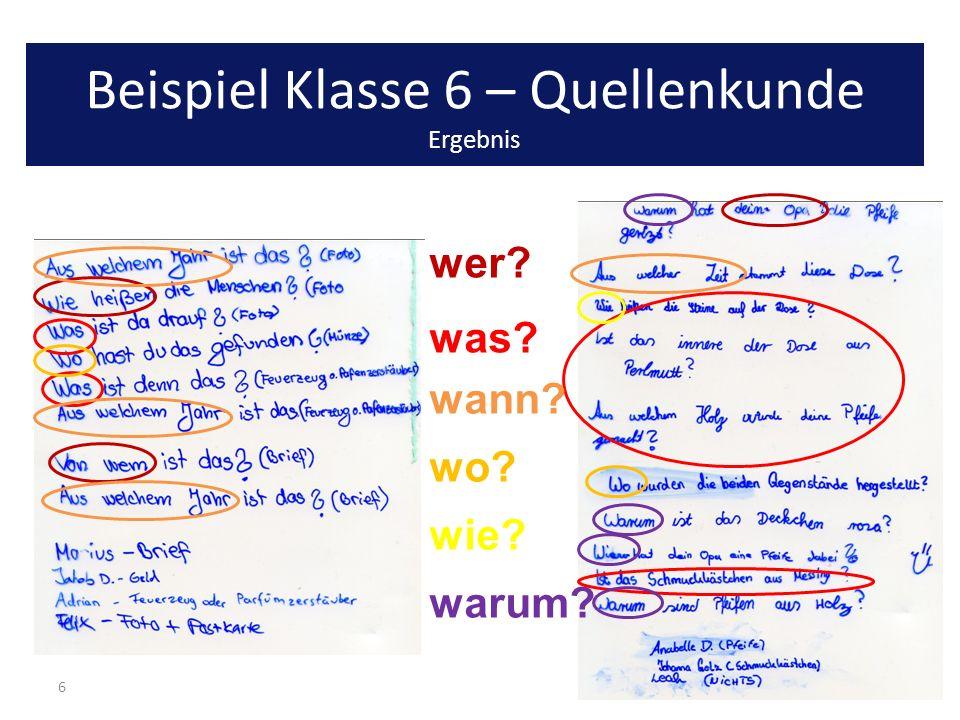Beispiel Klasse 6 – Quellenkunde Ergebnis