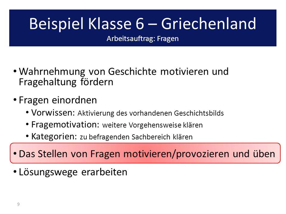 Beispiel Klasse 6 – Griechenland Arbeitsauftrag: Fragen