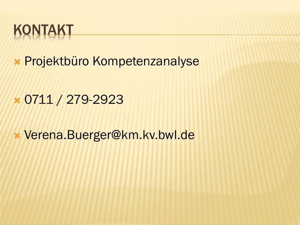Kontakt Projektbüro Kompetenzanalyse 0711 / 279-2923