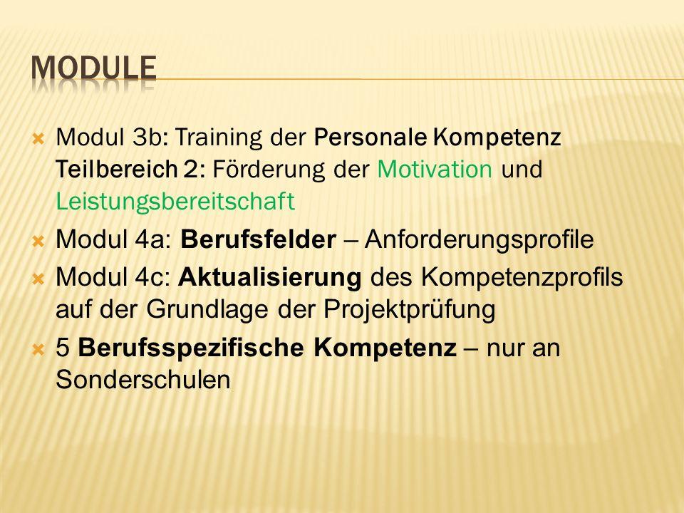 Module Modul 3b: Training der Personale Kompetenz Teilbereich 2: Förderung der Motivation und Leistungsbereitschaft.