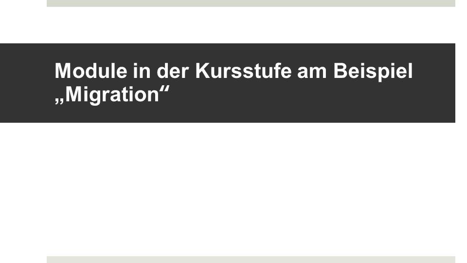 """Module in der Kursstufe am Beispiel """"Migration"""