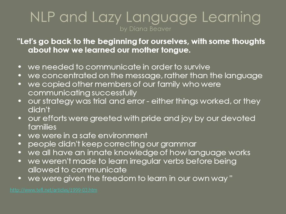NLP and Lazy Language Learning by Diana Beaver