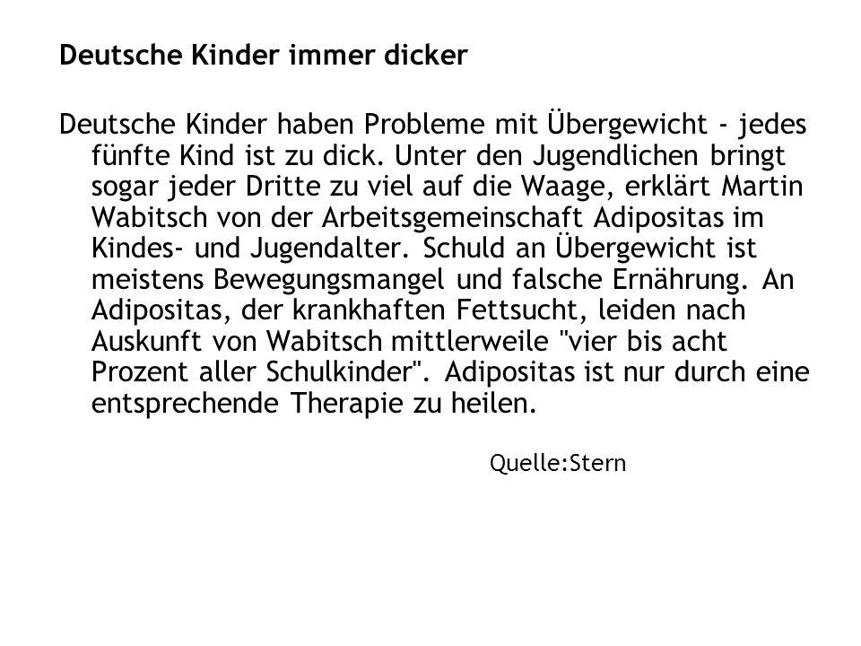 Deutsche Kinder immer dicker