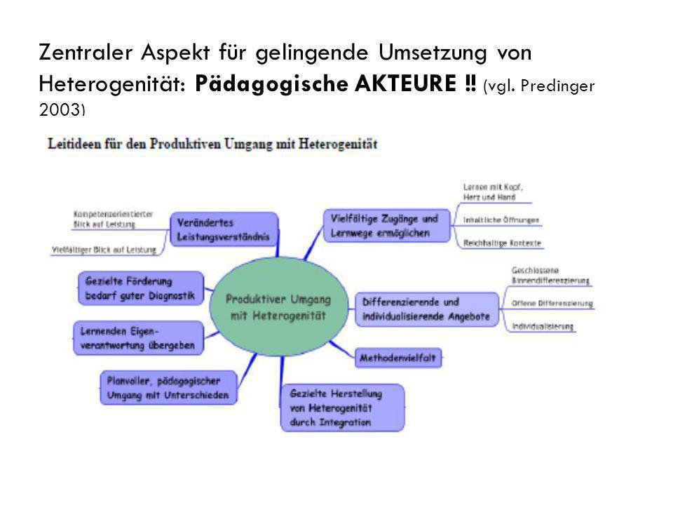 Zentraler Aspekt für gelingende Umsetzung von Heterogenität: Pädagogische AKTEURE !.