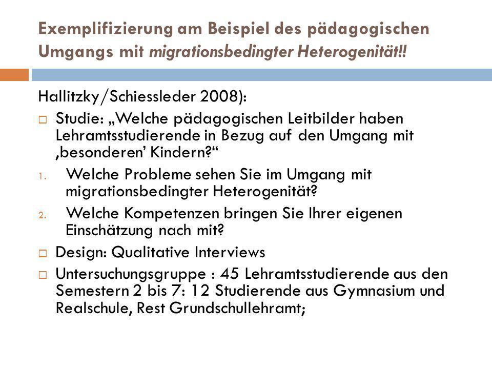 Exemplifizierung am Beispiel des pädagogischen Umgangs mit migrationsbedingter Heterogenität!!