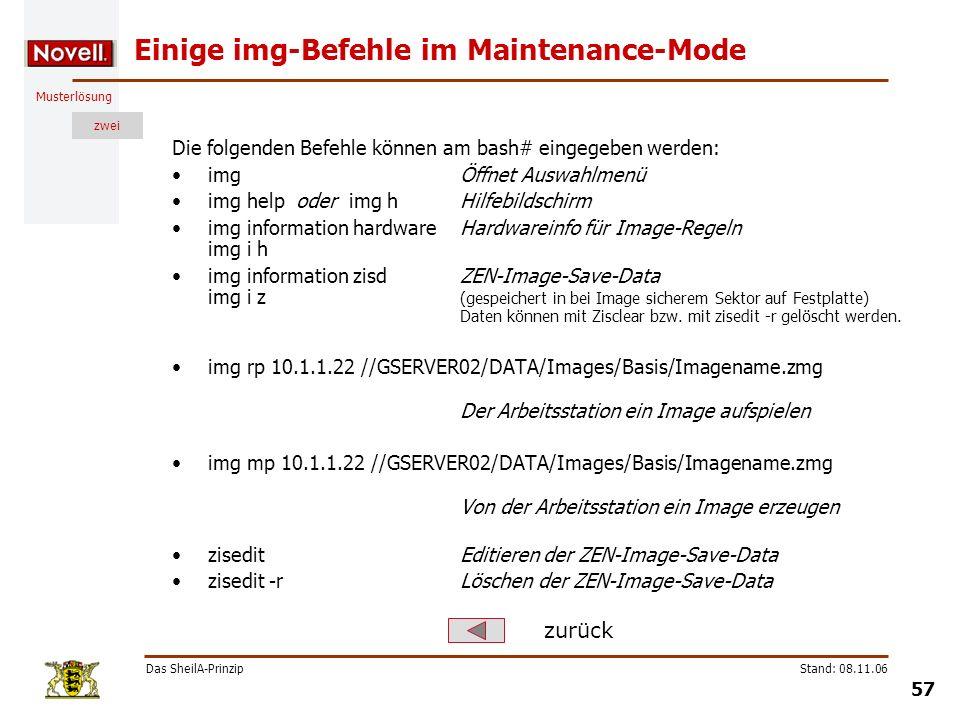 Einige img-Befehle im Maintenance-Mode