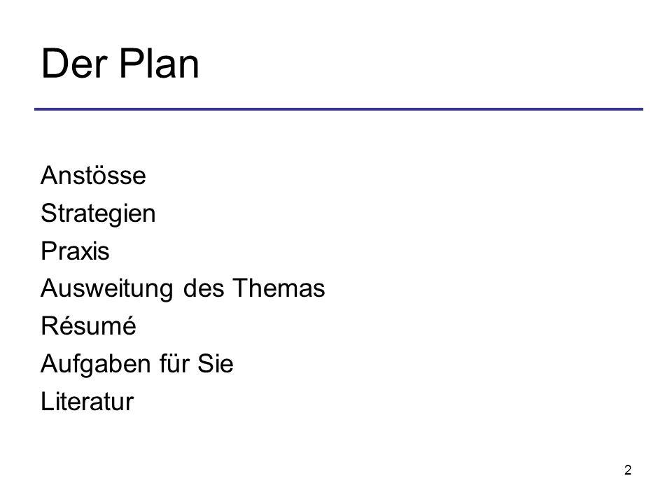 Der Plan Anstösse Strategien Praxis Ausweitung des Themas Résumé