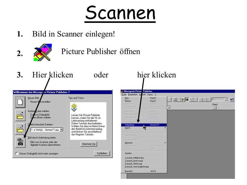 Scannen Picture Publisher öffnen 1. 2. Bild in Scanner einlegen! 3.