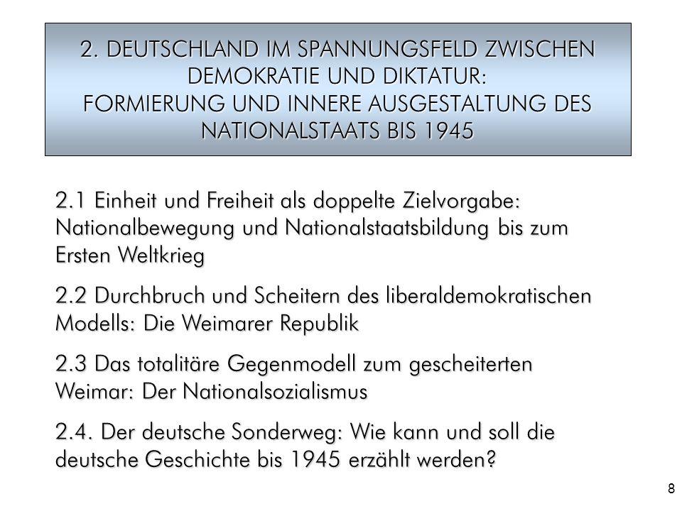 2. DEUTSCHLAND IM SPANNUNGSFELD ZWISCHEN DEMOKRATIE UND DIKTATUR: FORMIERUNG UND INNERE AUSGESTALTUNG DES NATIONALSTAATS BIS 1945