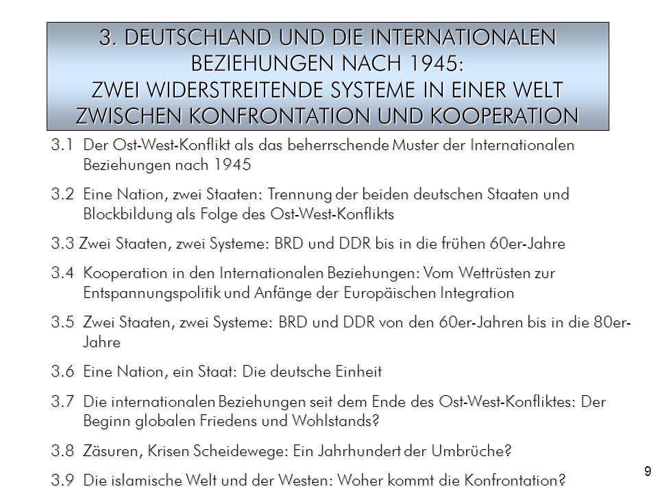 3. DEUTSCHLAND UND DIE INTERNATIONALEN BEZIEHUNGEN NACH 1945: ZWEI WIDERSTREITENDE SYSTEME IN EINER WELT ZWISCHEN KONFRONTATION UND KOOPERATION
