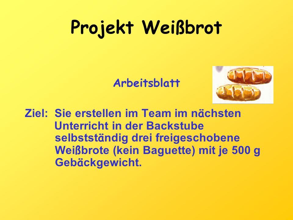 Projekt Weißbrot Arbeitsblatt