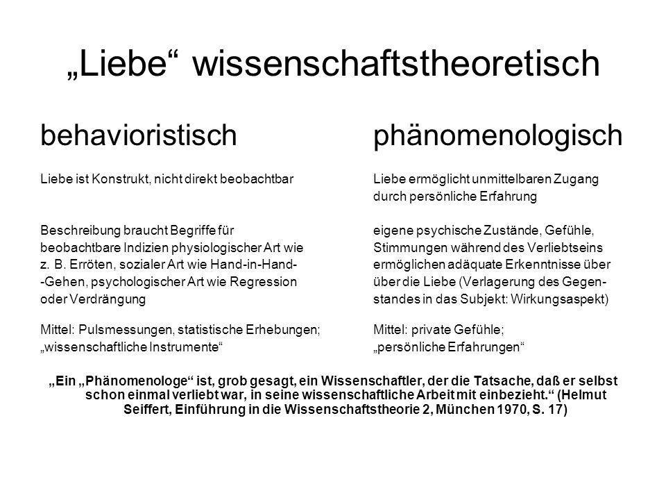 """""""Liebe wissenschaftstheoretisch"""