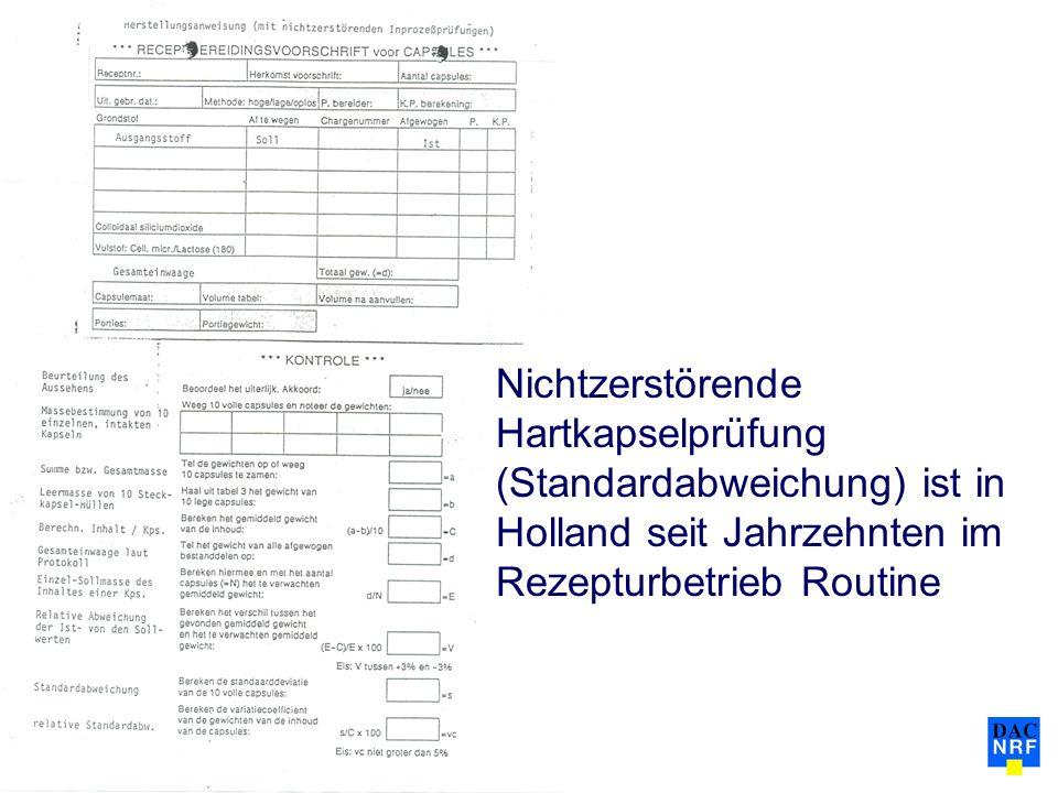 Nichtzerstörende Hartkapselprüfung (Standardabweichung) ist in Holland seit Jahrzehnten im Rezepturbetrieb Routine