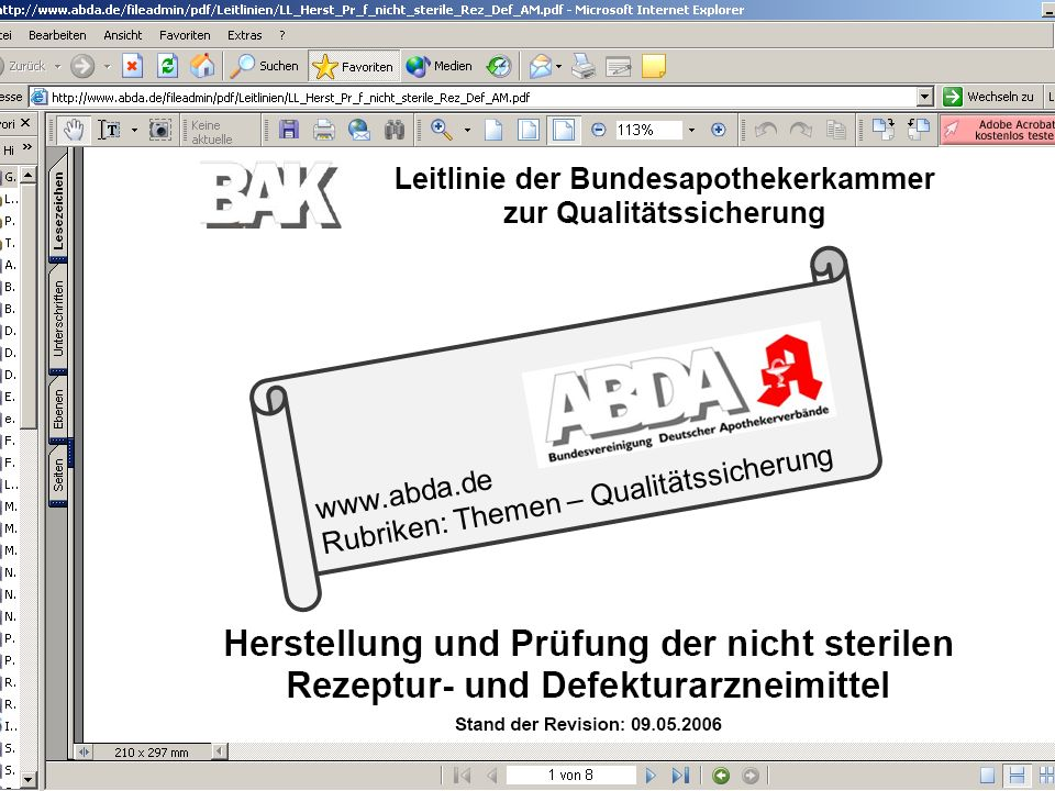 www.abda.de Rubriken: Themen – Qualitätssicherung