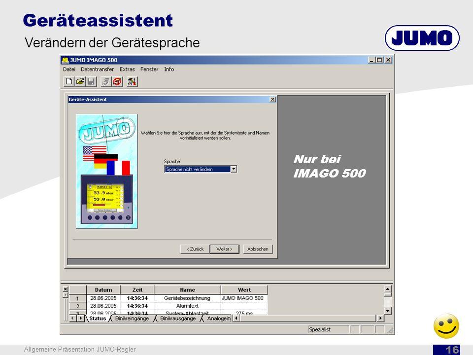 Geräteassistent Verändern der Gerätesprache Nur bei IMAGO 500