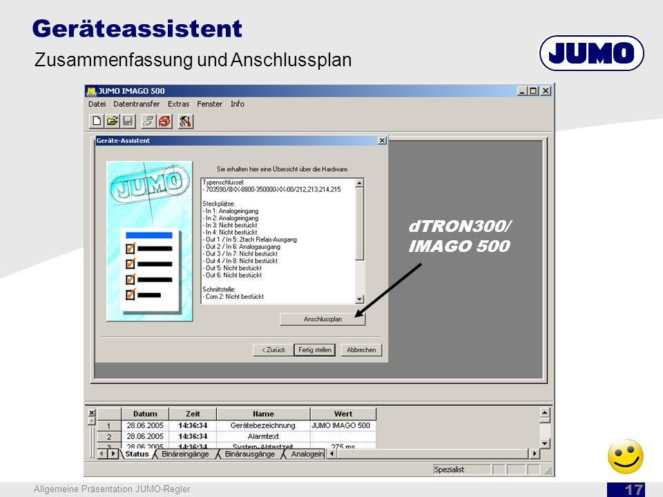 Geräteassistent Zusammenfassung und Anschlussplan dTRON300/ IMAGO 500