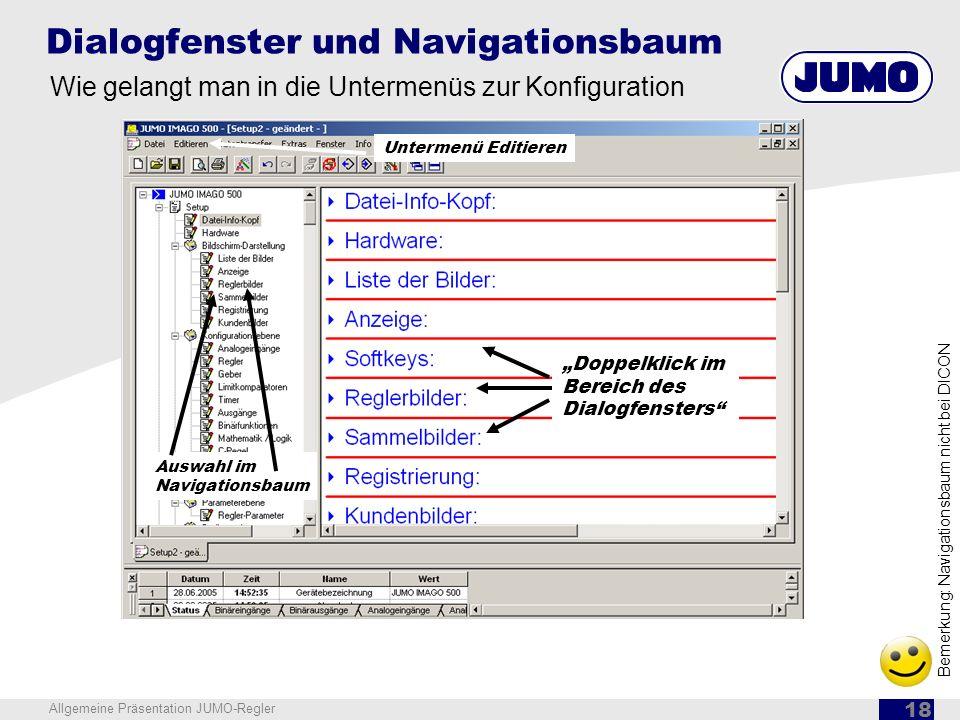 Dialogfenster und Navigationsbaum