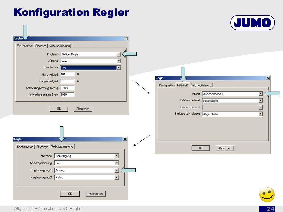 Konfiguration Regler Allgemeine Präsentation JUMO-Regler