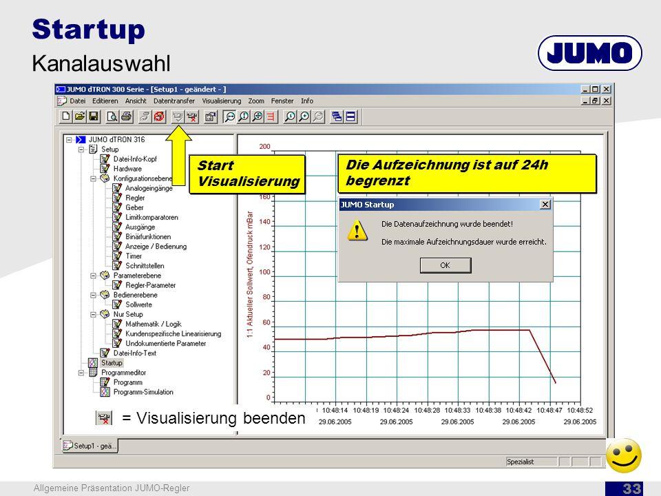 Startup Kanalauswahl = Visualisierung beenden Start Visualisierung
