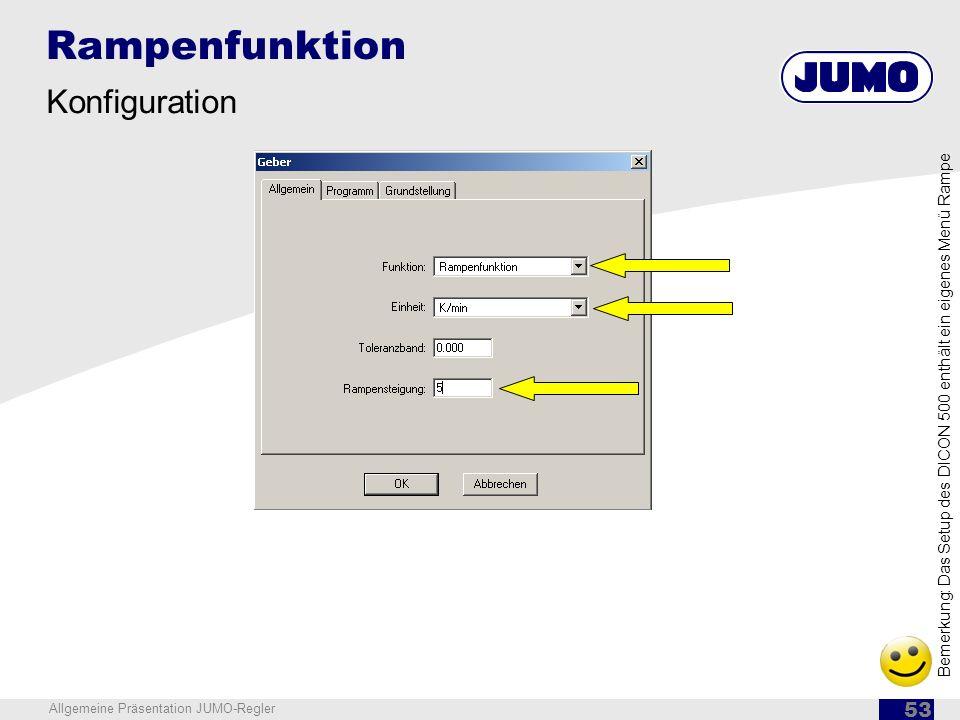 Rampenfunktion Konfiguration