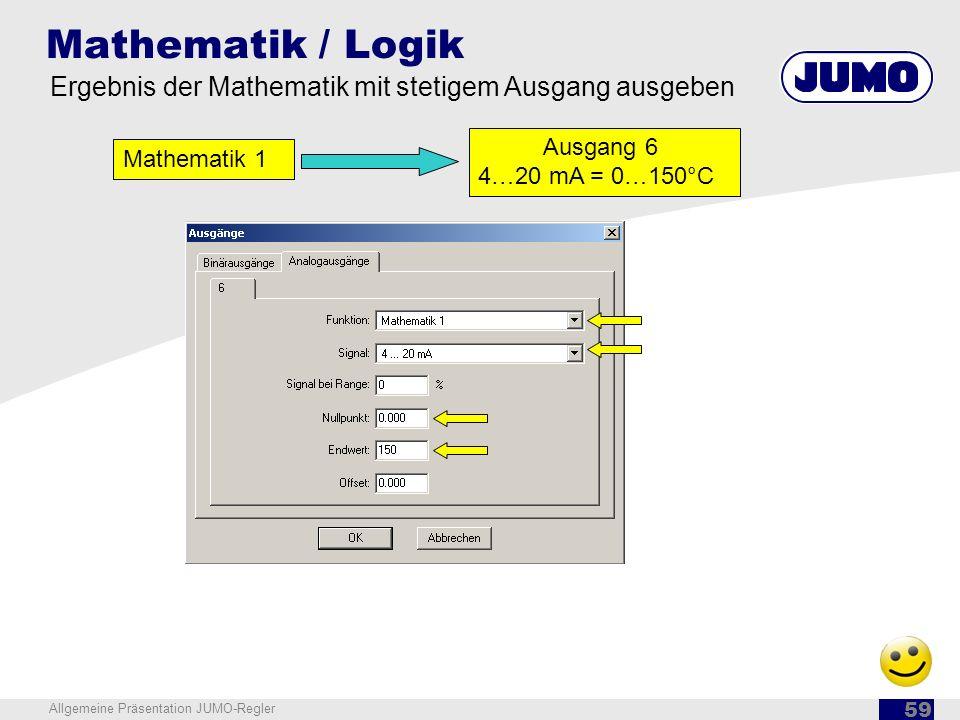 Mathematik / Logik Ergebnis der Mathematik mit stetigem Ausgang ausgeben. Ausgang 6 4…20 mA = 0…150°C.