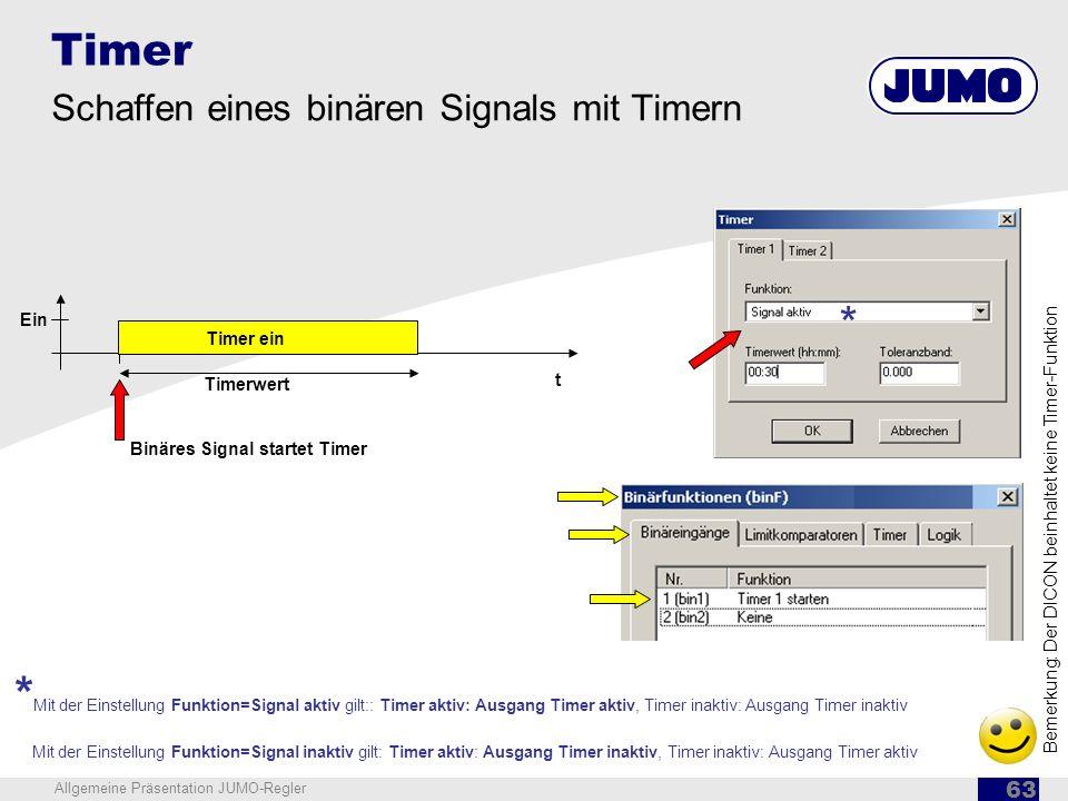 Timer Schaffen eines binären Signals mit Timern. Ein. t. * Timer ein. Timerwert. Binäres Signal startet Timer.