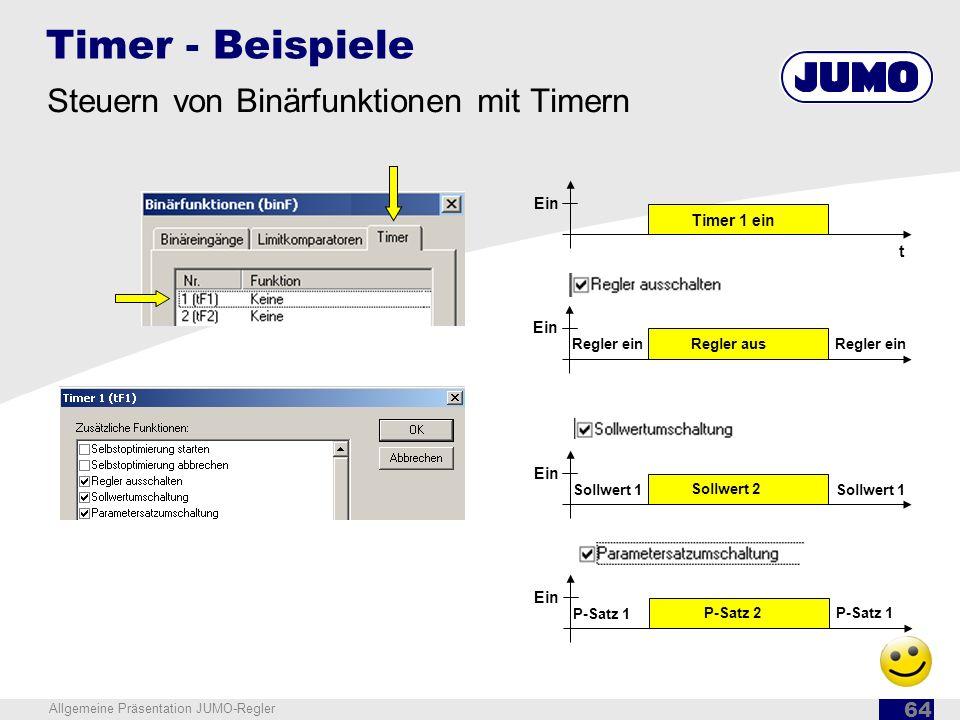 Timer - Beispiele Steuern von Binärfunktionen mit Timern Ein