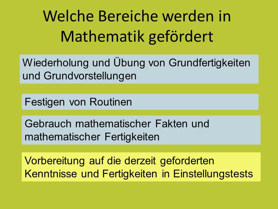 Welche Bereiche werden in Mathematik gefördert