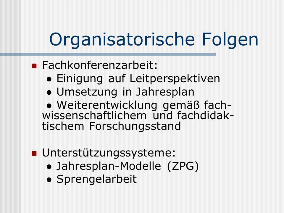 Organisatorische Folgen
