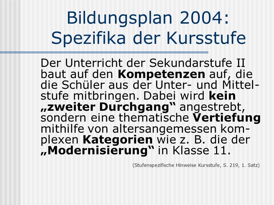 Bildungsplan 2004: Spezifika der Kursstufe