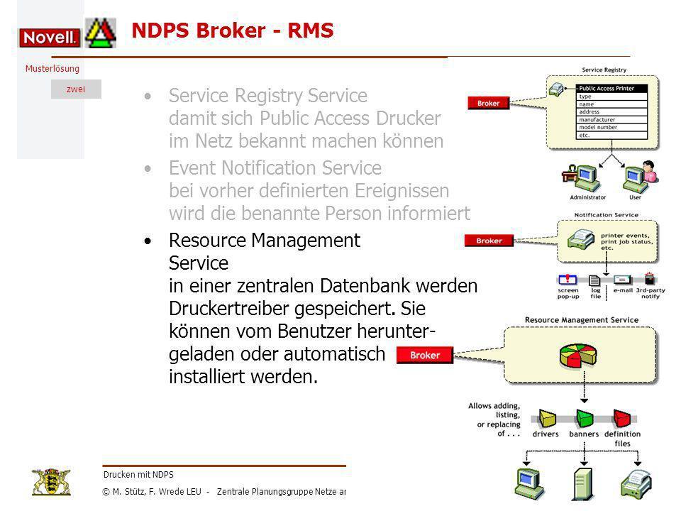 NDPS Broker - RMS Service Registry Service damit sich Public Access Drucker im Netz bekannt machen können.