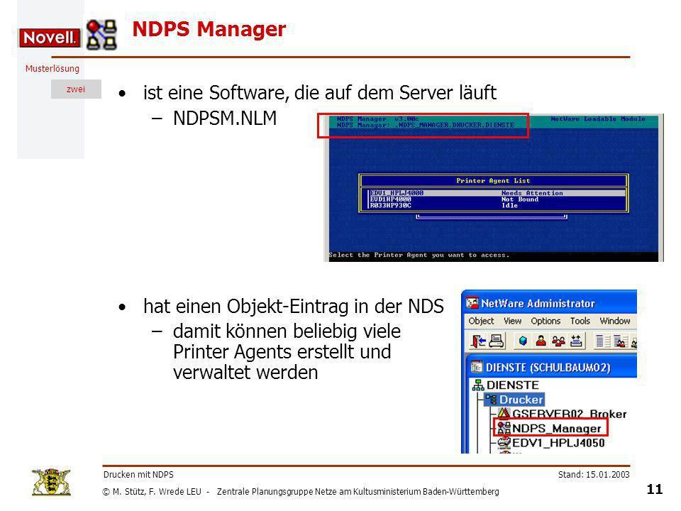 NDPS Manager ist eine Software, die auf dem Server läuft NDPSM.NLM