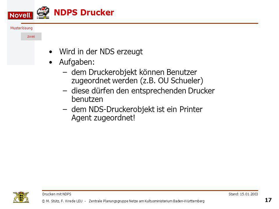 NDPS Drucker Wird in der NDS erzeugt Aufgaben: