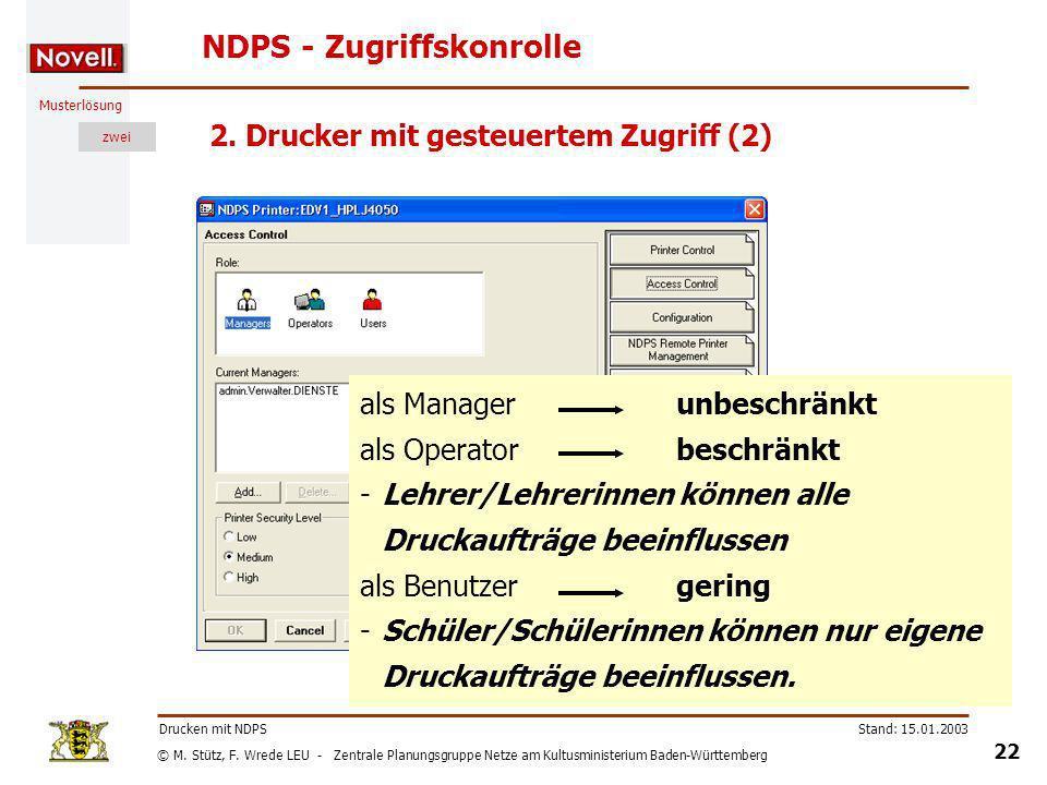 NDPS - Zugriffskonrolle