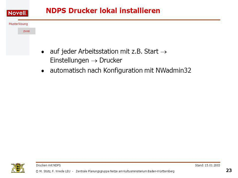 NDPS Drucker lokal installieren