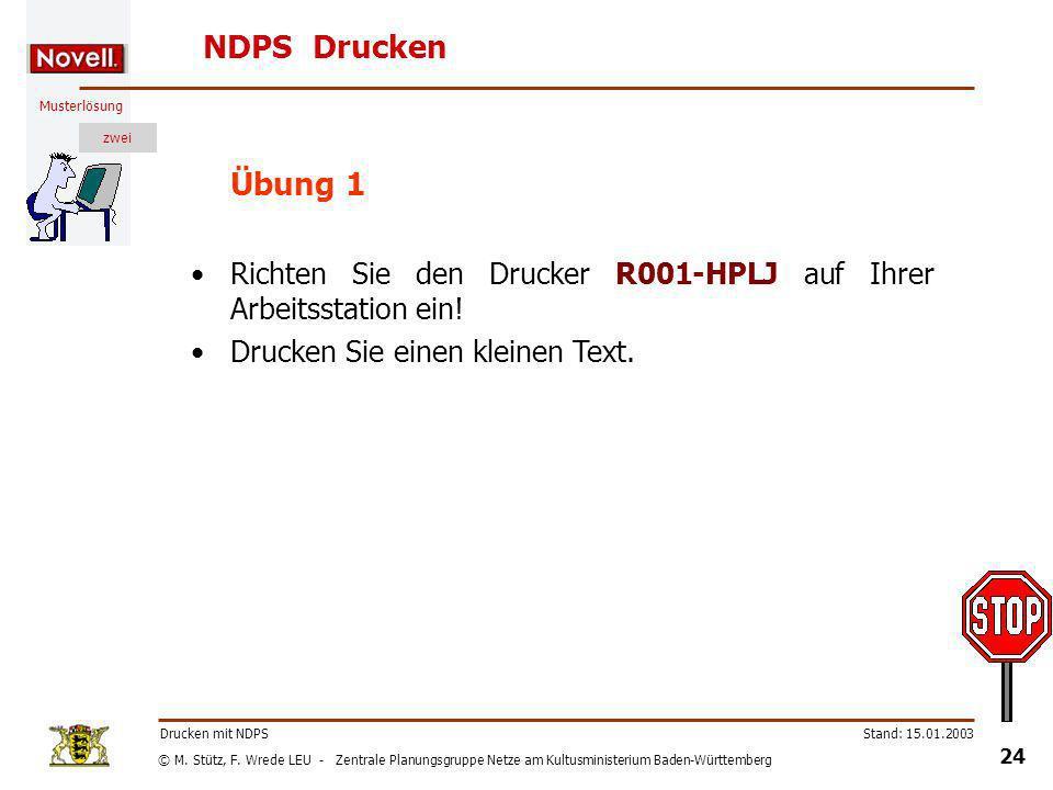 NDPS Drucken Übung 1. Richten Sie den Drucker R001-HPLJ auf Ihrer Arbeitsstation ein! Drucken Sie einen kleinen Text.