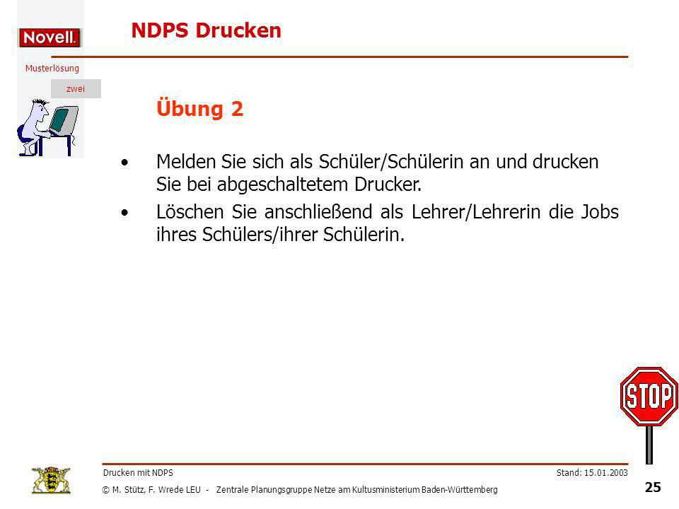 NDPS Drucken Übung 2. Melden Sie sich als Schüler/Schülerin an und drucken Sie bei abgeschaltetem Drucker.