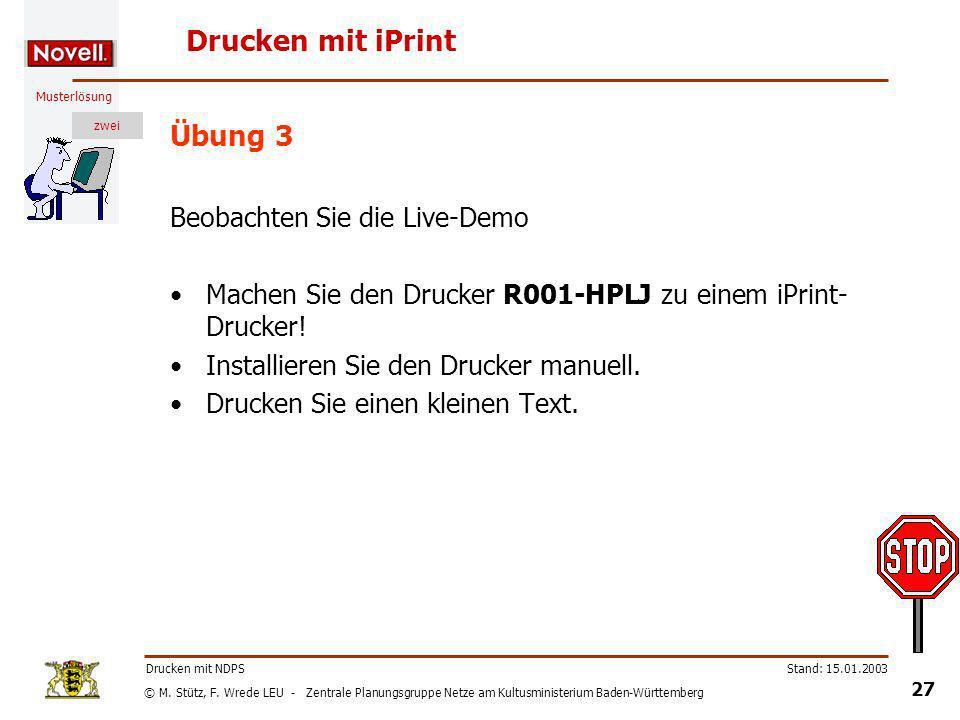 Drucken mit iPrint Übung 3 Beobachten Sie die Live-Demo
