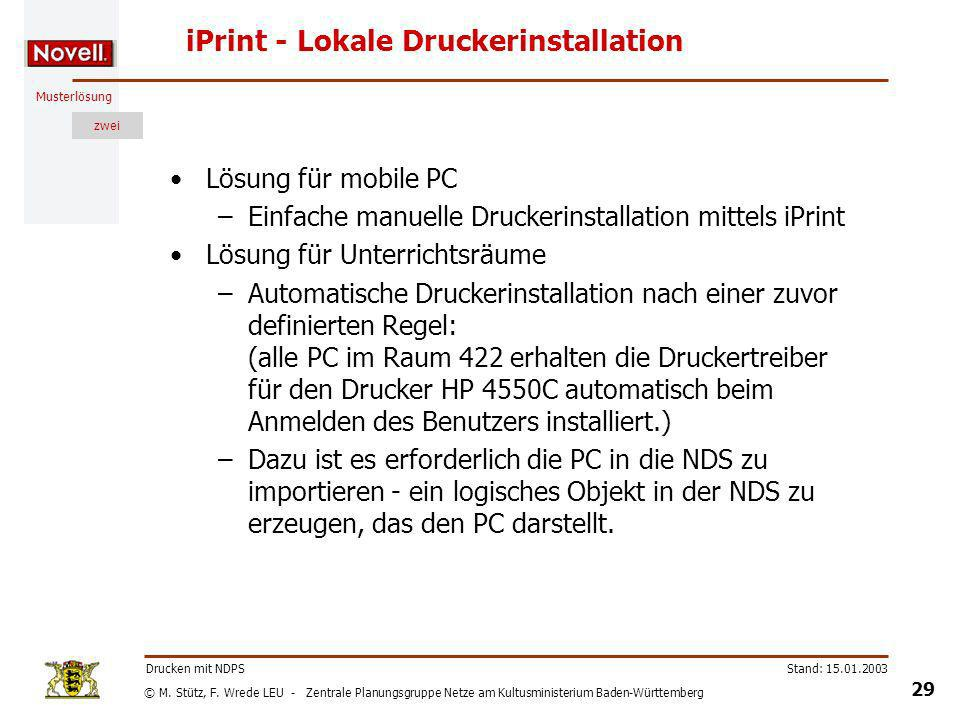 iPrint - Lokale Druckerinstallation